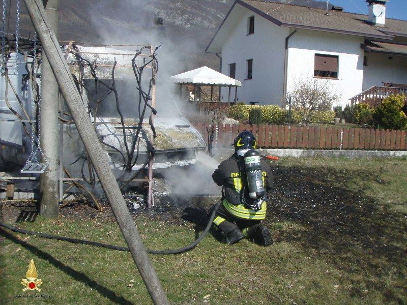 Incendio furgone in Località Le Torbe-Comune di Belluno