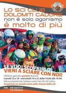 Sci Club Dolomiti Cadore: giornate di sci gratuite per ragazzi