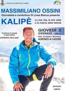 """Massimiliano Ossini  presenta """"Kalipè"""" : Auronzo 3 gennaio 2019 –"""