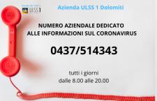Numero dedicato #Covid Ulss 1 Dolomiti