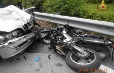 Incidente sulla strada per il Nevegal, grave motociclista.
